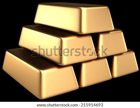 Gold bullion. isolated on black background. 3d illustration - stock photo
