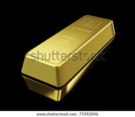 gold bullion on black background - stock photo