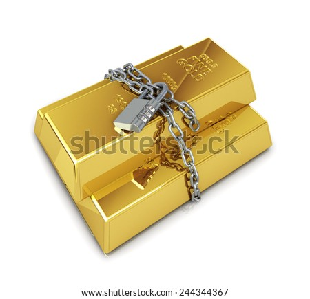 gold bullion protected with chain and padlock - stock photo