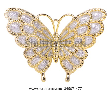 Gold butterfly decoration isolated on white background - stock photo