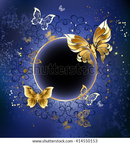 Gold butterfly with gold round banner on blue textural background. Design with butterflies. Golden Butterfly. Bright butterfly  - stock photo