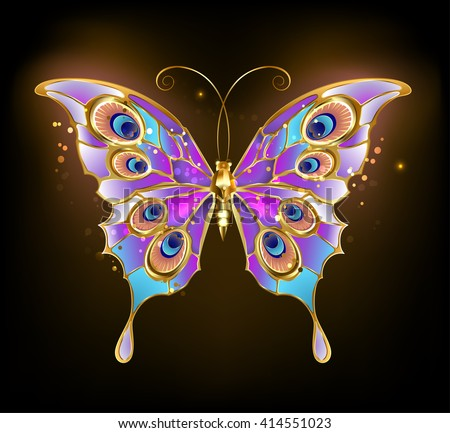 gold butterfly with wings patterned peacock on a dark background. Design with butterflies. Golden Butterfly. Bright butterfly  - stock photo