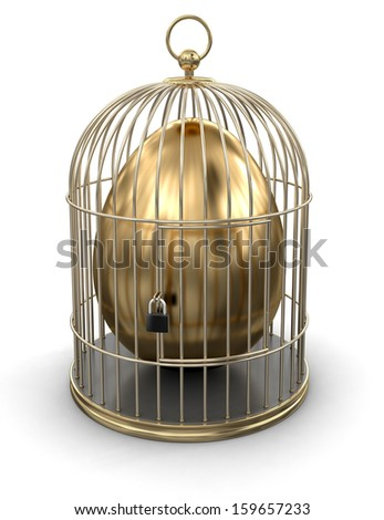 Gold Cage with Egg (clipping path included) - stock photo