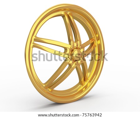 gold car disk isolated over white - stock photo
