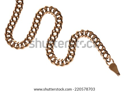 Gold chain closeup isolated on white background with clipping path - stock photo