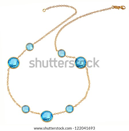 gold chain isolated on white - stock photo