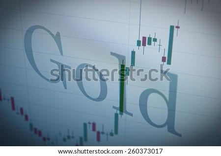 Gold chart on PC monitor. - stock photo