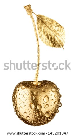 Gold cherry in water drops isolated on white - stock photo