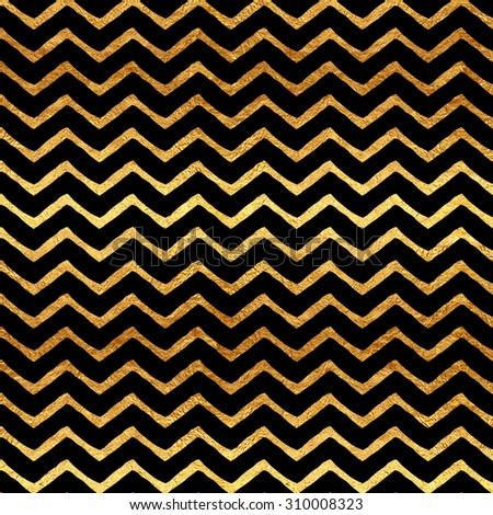 Gold Chevron Faux Foil Metallic Black Background Pattern Texture - stock photo