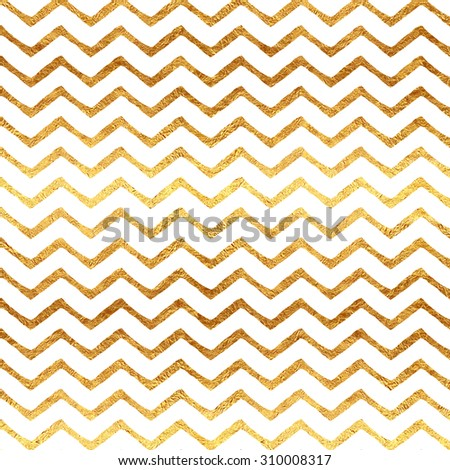 Gold Chevron Faux Foil Metallic White Background Pattern Texture - stock photo