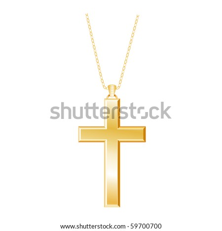 Gold Christian Cross and chain on a white background. - stock photo