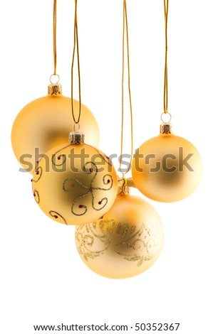 gold christmas balls on white background - stock photo