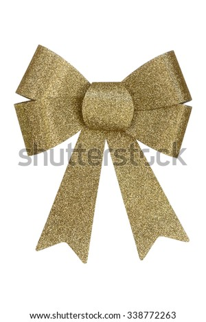 Gold christmas bow isolated on white background  - stock photo