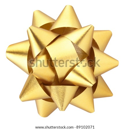 Gold Christmas bow isolated on white clipping path included - stock photo