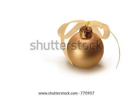 Gold Christmas bulb. - stock photo