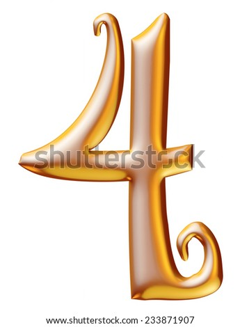 Gold Christmas Digit number 4 - stock photo