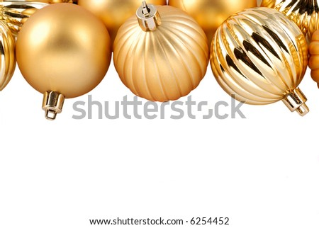Gold Christmas Ornaments With Copy Space Suitable For An Invitation Or Christmas Card,Isolated Over White - stock photo