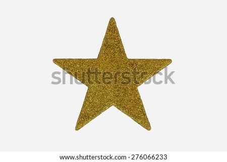 Gold Christmas Star Decoration, in gold glitter, gold star shape / symbol / design / icon,  isolated on white background. - stock photo