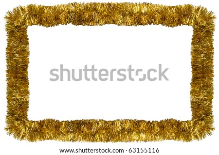Gold Christmas tinsel garland, forming a rectangular frame with center copy space, isolated on white background - stock photo