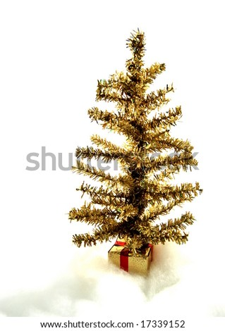 Gold Christmas tree - stock photo