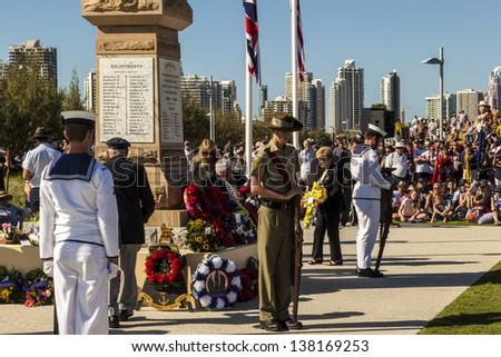 GOLD COAST, AUSTRALIA - APRIL 25 :Memorial service with War Veterans Remembers Anzac Day on March April 25, 2013 in Gold Cost , Australia. - stock photo