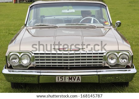 GOLD COAST, QUEENSLAND - NOVEMBER 17: Variety of classic vintage car on display at the  Annual Gold Coast Classic Car Show on November 17, 2013 in Gold Coast, Australia.  - stock photo