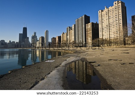 Gold Coast reflected, Chicago, IL. - stock photo