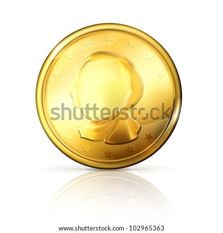 Gold coin, bitmap copy - stock photo