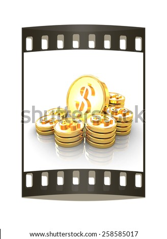 gold coin ctack on a white background. The film strip - stock photo
