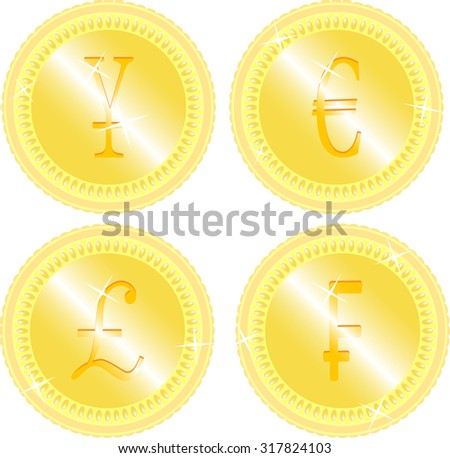 Gold coin set. japanese yen, pound and swiss franc and euro graphic illustration - stock photo