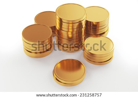 Gold coin stack isolated on white - stock photo