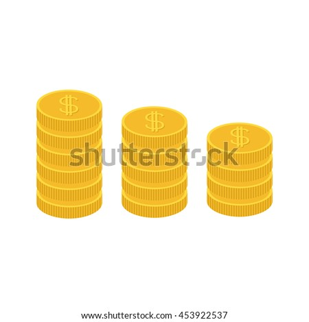 Gold coin stacks icon in shape of diagram. Dollar sign symbol. Cash money. Growing business concept. Going down graph. Income and profits. Flat design. White background. Isolated.  - stock photo