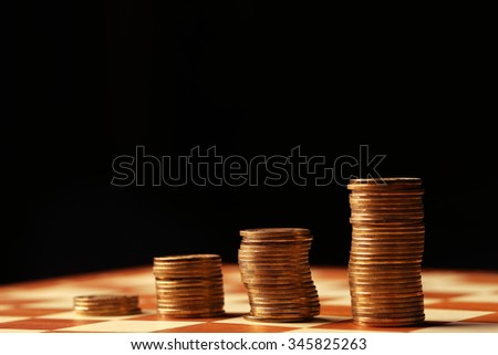 Gold coins and money is not a table, finances and growth concept - stock photo