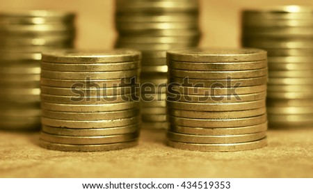 Gold coins close up - wealth concept website banner - stock photo