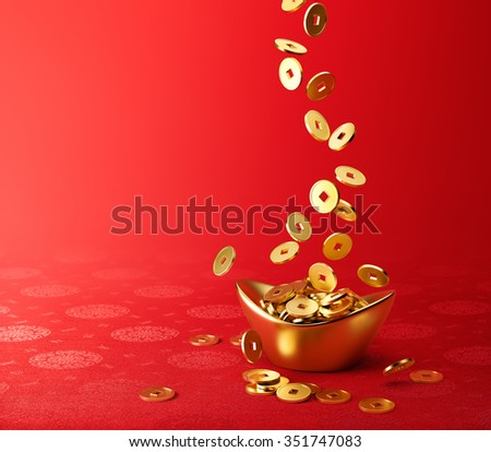Gold coins dropping on gold sycee ( yuanbao ) - red chinese fabric with oriental motifs background - stock photo