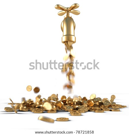 gold coins fall out of the golden tap. isolated on white. - stock photo