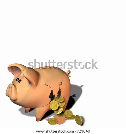 Gold coins falling out of a broken piggy bank - stock photo