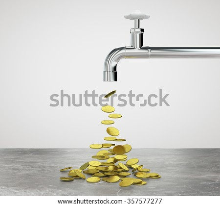 Gold coins flow from the faucet - stock photo