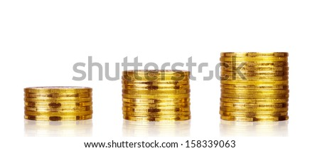 Gold coins, isolated on a white  - stock photo