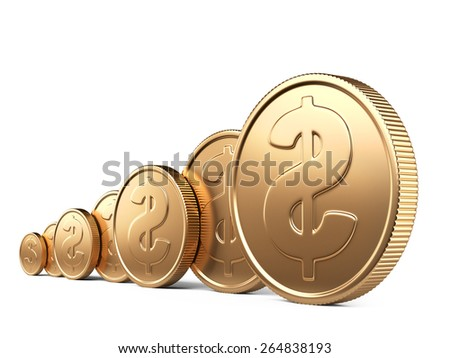 Gold coins isolated on white. 3d illustration high resolution - stock photo