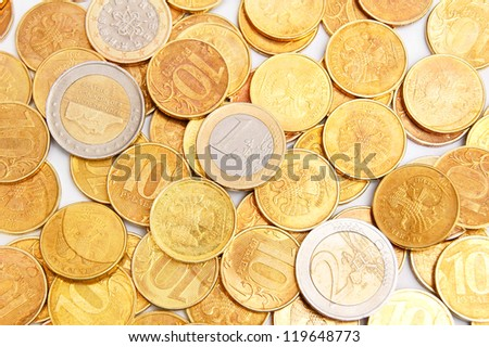 Gold coins. It is a lot of coins. - stock photo