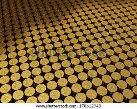 Gold coins japan yen signs stacking (depth of field) - stock photo
