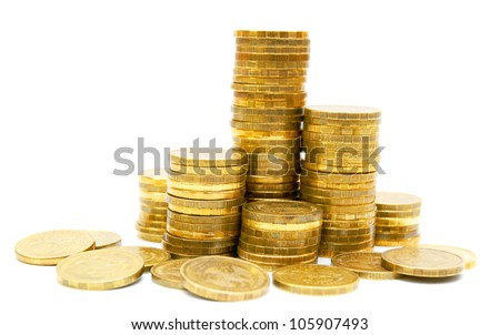 Gold coins on a white background. - stock photo