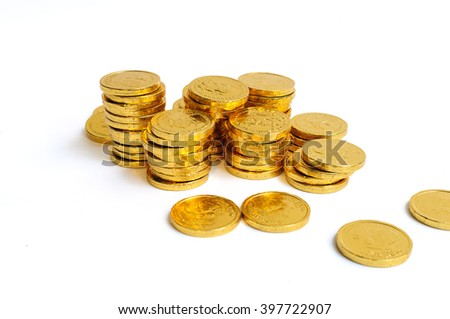 Gold coins  stack isolated on white - stock photo