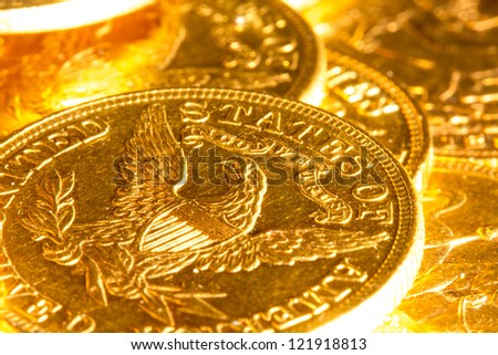 Gold coins treasure - stock photo