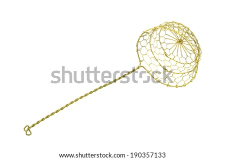 Gold colander for scald food is kitchenware isolated with white background. - stock photo