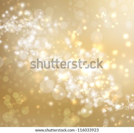 Gold Colored Abstract Lights Background - stock photo