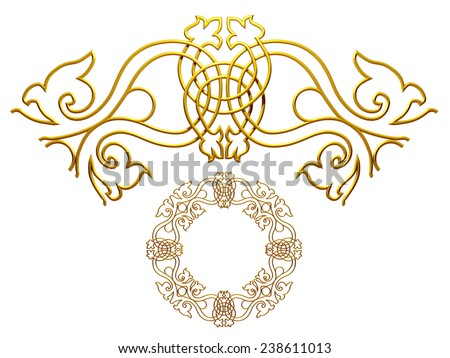 gold colored ornamental segment for a circle or a corner. This 90 degree angle complements my items for a frieze or frame.  - stock photo