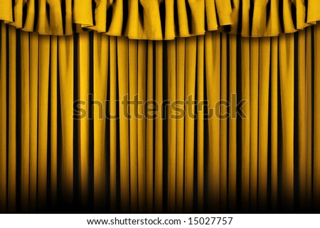 Gold Colored Stage Theater Drapes With Lots of Copyspace - stock photo