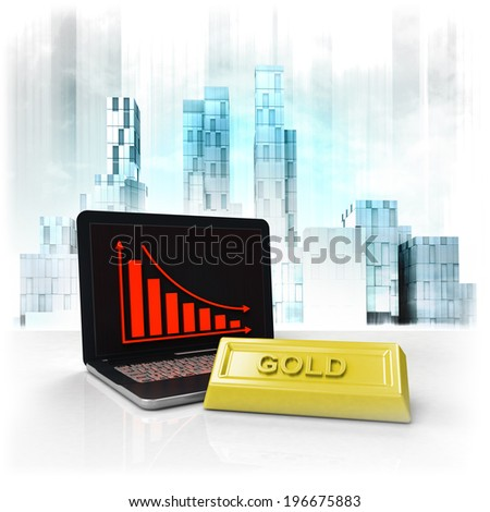 gold commodity with negative online results in business district illustration - stock photo